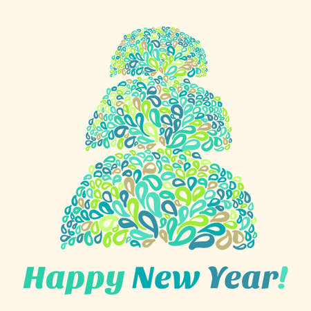 stylize: Happy New Year Card with stylize mosaic Christmas tree.