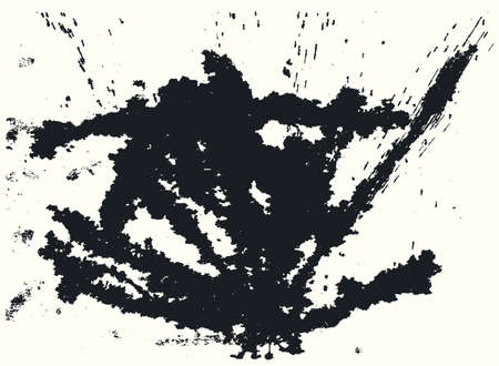 ink spill: Splatter Black Ink Background. Hand Drawn Spray Blots and Splashes Paint Vector Illustration. Grunge ink stains template for design of logotypes, banners and posters. Illustration