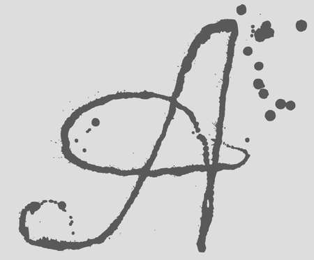 logotypes: Letter A logo. Splatter Black Ink Background. Hand Drawn Spray Blots and Splashes Paint Vector Illustration. Grunge ink stains template for design of logotypes, banners and posters.