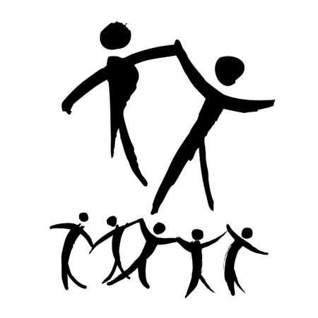 baile hip hop: La gente bailando ilustración dibujados a mano. Logotipo y plantilla de etiqueta. Ballet bailarina, jazz, del vientre, salón de baile, Columpio, Break, moderno, latino, tango, flamenco. Icono pictograma
