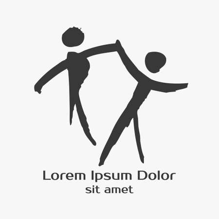 hip hop dance pose: Dancing people hand drawn illustration. Logo and label template. Dancing dancer Ballet, Jazz, Belly, Ballroom, Swing, Break, Modern, Latin, Tango, Flamenco. Pictogram Icon