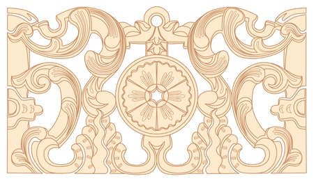 Vintage baroque geometry floral ornament. Engraving drawing of retro antique style. Decorative design elements and vector background.