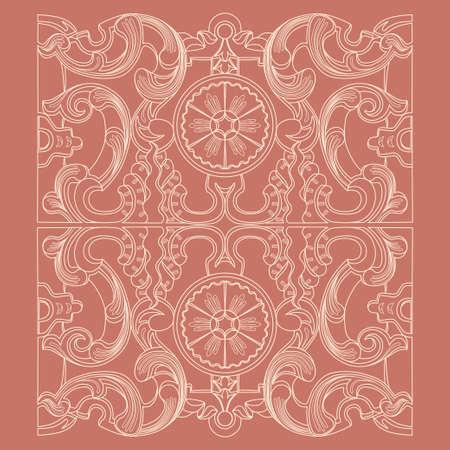 Ornamento floreale di geometria barocca dell'annata. Incisione di disegno di stile antico retrò. Elementi decorativi di disegno e priorità bassa di vettore. Vettoriali