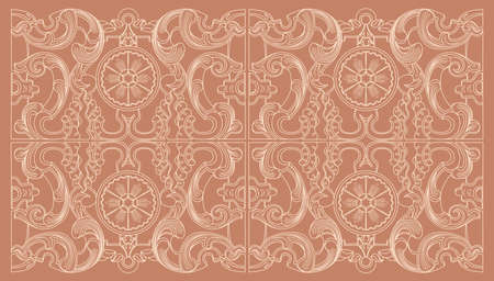 royal wedding: Vintage baroque geometry floral ornament. Engraving drawing of retro antique style. Decorative design elements and vector background.