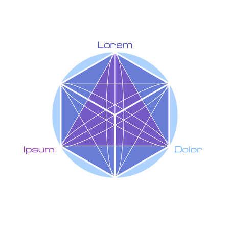 spiritual meditation creation: Sacred geometry symbols and elements. Alchemy, religion, philosophy, astrology and spirituality themes Illustration