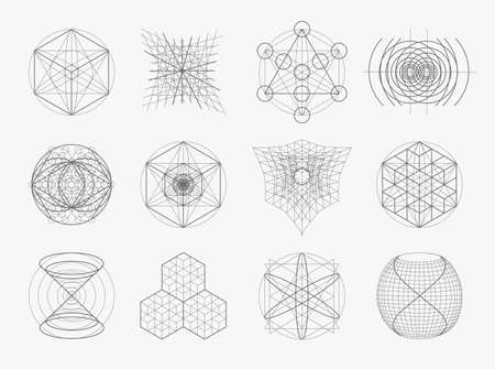 golden ratio: Sacred geometry symbols and elements set. 12 in 1. Alchemy, religion, philosophy, astrology and spirituality themes