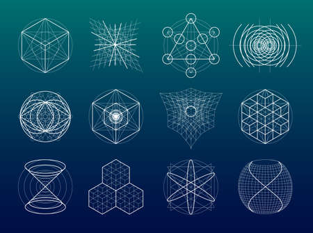 Sacred geometry symbols and elements set. 12 in 1. Alchemy, religion, philosophy, astrology and spirituality themes 版權商用圖片 - 52451302