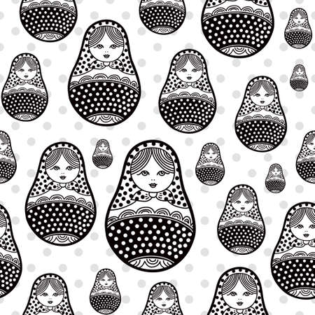 matryoshka doll: Russian retro matryoshka doll illustration. Abstract seamless pattern. Used for souvenirs, greeting cards, posters, print for t-shorts and bags Illustration