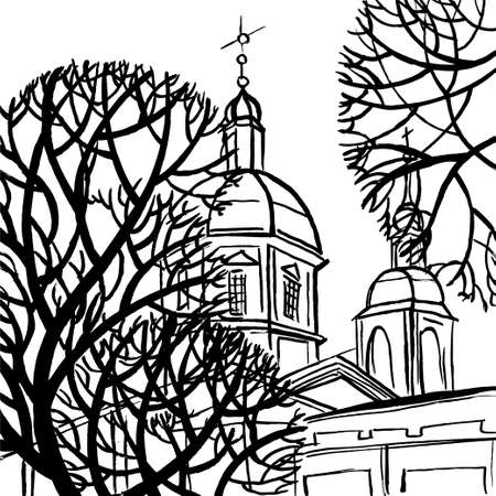 st petersburg: Panteleymon Cathedral in St. Petersburg with trees. Art colorful stylized abstract illustration with SPb.