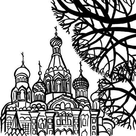 petersburg: Vector drawing depicting the Savior on Spilled Blood in St. Petersburg with trees. Art colorful stylized abstract illustration with SPb. Illustration