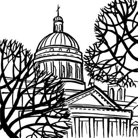 la cathédrale Saint-Isaac à Saint-Pétersbourg avec des arbres. Art coloré stylisé illustration abstraite avec SPb.