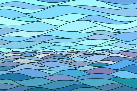 abstrakte muster: Abstrakt Hintergrund mit stilisierten Welle und Himmel. Illustration wie Glasfenster.