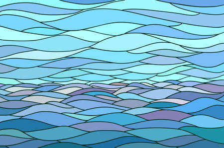 Abstract background with stylized wave and sky. Illustration like stained-glass window. Illustration