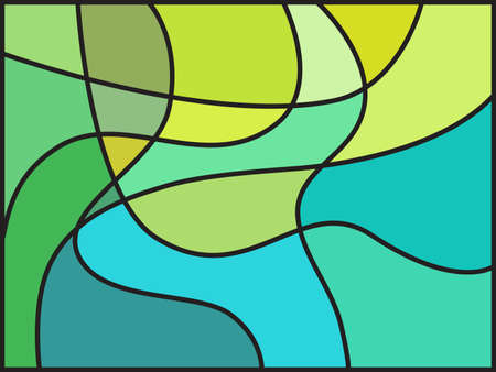 diagonals: Multicolored stained glass window with irregular block pattern. Colorful vector illustration