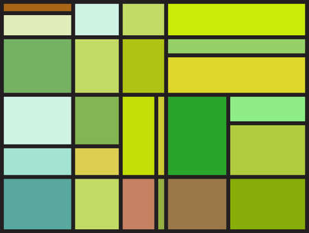 Multicolored stained glass window with irregular block pattern. Colorful vector illustration