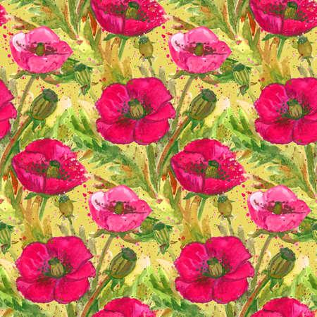 scarlet: Scarlet Poppies Watercolor Illustration.Wallpaper Seamless Textile Pattern. Stock Photo