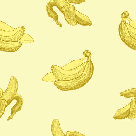 wholesome: Seamless wallpaper pattern with bananas engraving drawing. Fruit and food themes. Good for wallpaper, textile, background, design of wedding invitation, poster, cover of book, post cards