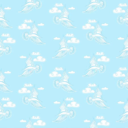 warble: Summer sea seamless pattern. Illustration of bird seagull, sky and waves. Used for wallpaper, textile, background