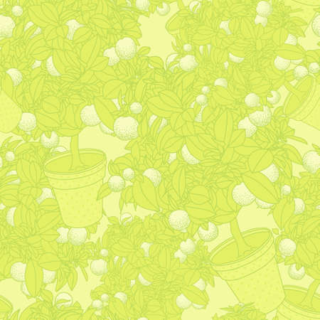 citrus tree: Lemon citrus tree in pot. Wallpaper seamless pattern Stock Photo