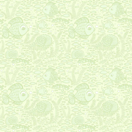 fish pattern: Green hand drawn fishes. Wallpaper textile seamless fish pattern.