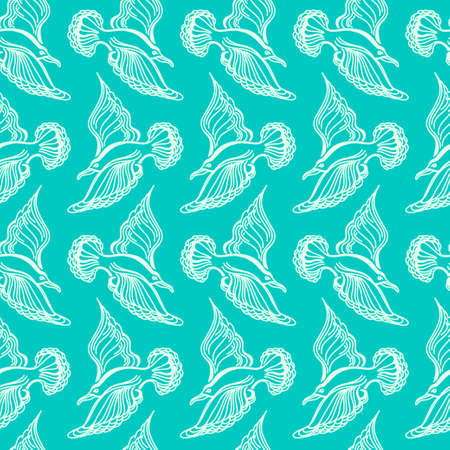 webbed: Seagull bird drawing. Summer sea seamless pattern. Illustration of bird seagull, sky and waves.
