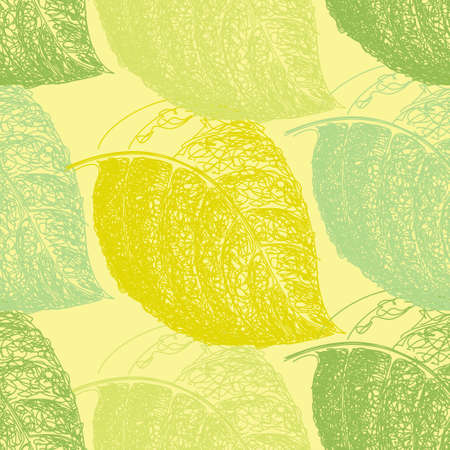 vegetate: Summer hand drawn leaf. Wallpaper seamless pattern background
