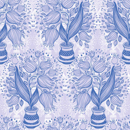 stylize: Seamless pattern with stylize draving of tulips in a pot Stock Photo