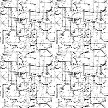 roman alphabet: Wallpaper seamless pattern with Modern Roman Classic Alphabet. Method of Geometrical Construction for Large Letters. Hand drawn construction sketch of ABC letters in old fashion vintage style. Stock Photo