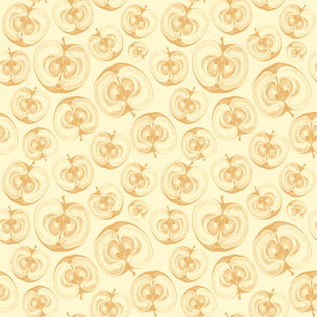 passion ecology: Wallpaper seamless pattern with drawing of apples