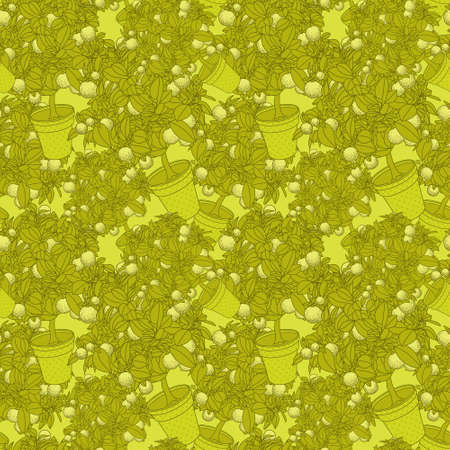 citrus tree: Lemon citrus tree in pot. Wallpaper seamless pattern Stock Photo