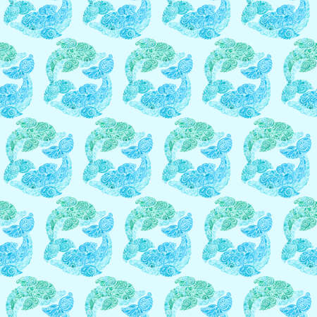 fish tail: Watercolor Dolphins Doodle Mehndi Ethnic Illustration. Wallpaper textile seamless pattern. Stock Photo