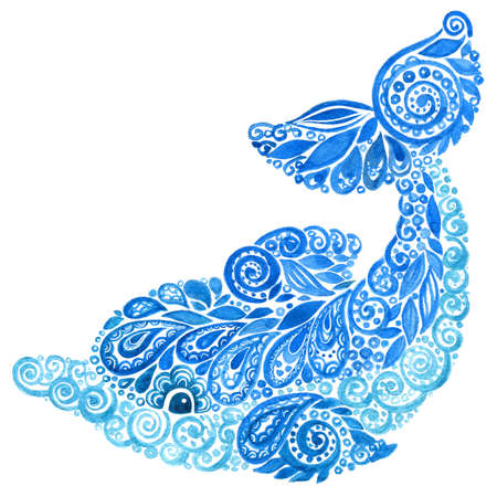 Watercolor Dolphins Animal Doodle Mehndi Ethnic Illustration.