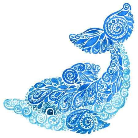 Watercolor Dolphins Animal Doodle Mehndi Ethnic Illustration.