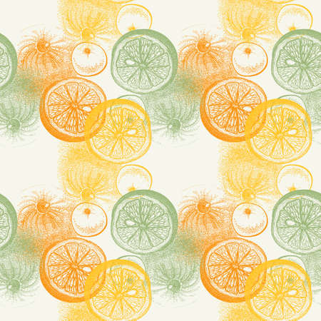 watercolour background: Wallpaper seamless pattern with hand drawn oranges citrus. Drawing of pen, ink and paper. Fruit and food themes