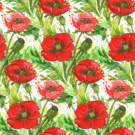 opium: Red Poppies Watercolor Illustration.Wallpaper Seamless Vintage Textile Pattern. Stock Photo