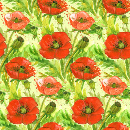 opium poppy: Red Poppies Flower Watercolor Illustration.Wallpaper Seamless Vintage Textile Pattern.