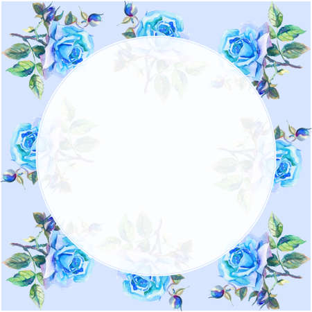 rose garden: Background with original blue watercolor roses Stock Photo