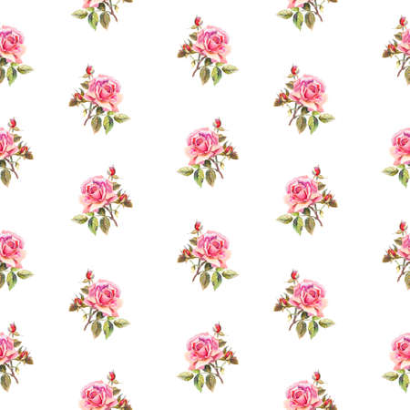 pink flower background: Seamless floral pattern with little roses. Used for backgrounds, wallpapers, textile Stock Photo