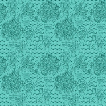 bluebell: Garden seamless pattern with 3 plants in flowerpot: bluebell, narcissus and ivy