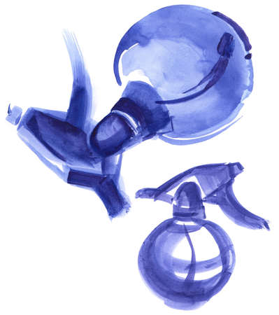 atomizer: Spray trigger, atomizer, sprayer, pulverizer, air gun. Watercolor colorful drawing.