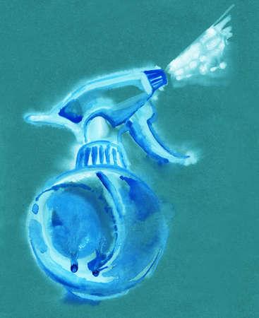 gatillo: Gatillo de, atomizador, pulverizador, pulverizador, pistola de aire. Acuarela dibujo colorido
