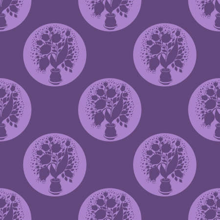 stylize: Seamless pattern with stylize silhouettes of tulips in a pot. Form like bubble. Good for wallpaper and textile