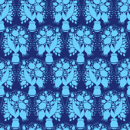 stylize: Seamless pattern with stylize silhouettes of tulips in a pot. Good for wallpaper and textile. Stock Photo