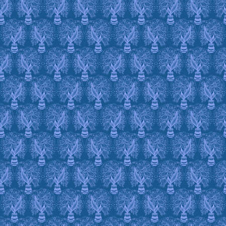 stylize: Seamless pattern with stylize silhouettes of tulips in a pot Stock Photo