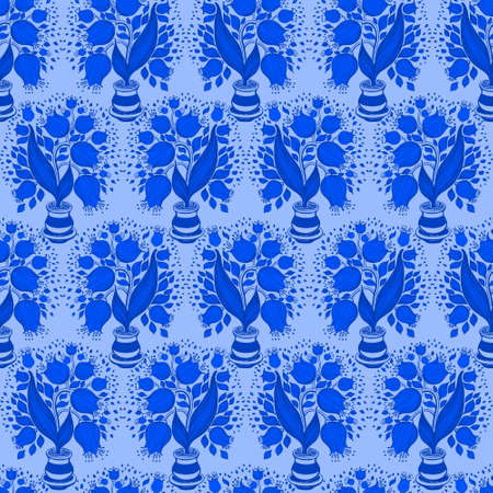 campanula: Seamless pattern with stylize silhouettes of tulips in a pot. Good for wallpaper and textile. Stock Photo