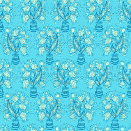 cerulean: Seamless pattern with stylize draving of tulips in a pot Stock Photo