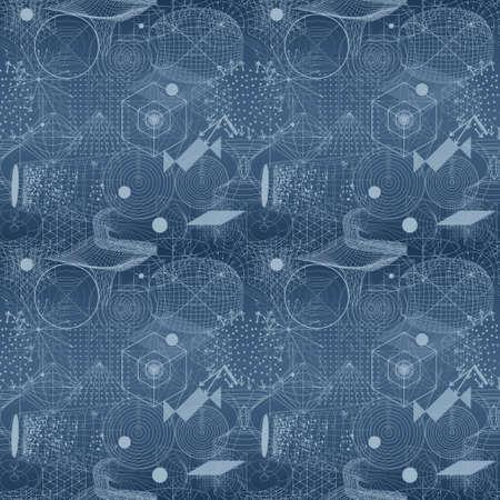 balanza de laboratorio: símbolos y elementos de geometría sagrada patrón de papel tapiz sin fisuras. diseño textil, textura abstracta, patrón de superficie. Alchemy, religión, filosofía, astrología y espiritualidad temas