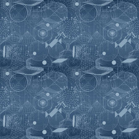 Sacred geometry symbols and elements wallpaper seamless pattern. Textile design, abstract texture, surface pattern. Alchemy, religion, philosophy, astrology and spirituality themes