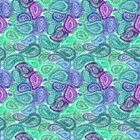 paisley wallpaper: Watercolor ornate paisley floral seamless textile wallpaper pattern in colorful indian style ornament. Stock Photo