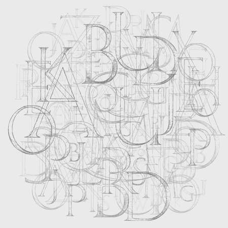 old fashion: Modern Roman Classic Alphabet with a Method of Geometrical Construction for Large Letters. Hand drawn construction sketch of ABC letters in old fashion vintage style.